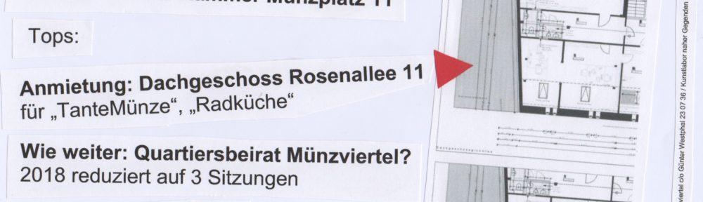 Einladung:  Stadtteiltreffen Münzviertel 15.1.2018 19.00 Uhr Galerie Renate Kammer Münzplatz 11